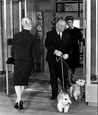 Scene from The Birds with Alfred Hitchcock & Sealys